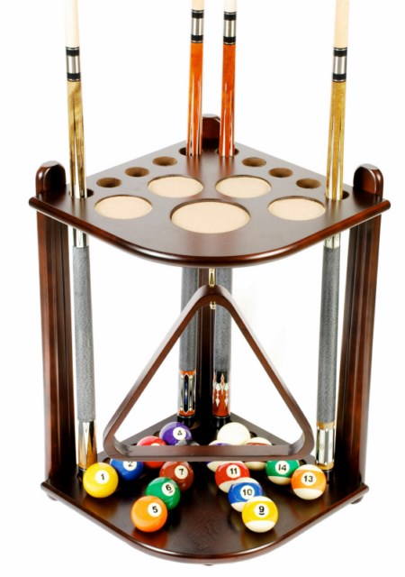 Cue Rack Only - 10  Pool - Billiard Stick & Ball Floor Stand - Holder Mah Finish